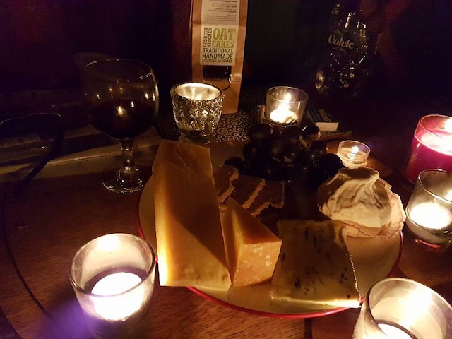 In Yurt Dining - Cheese from Connage and a glass of red