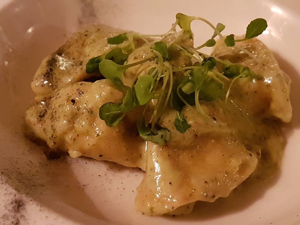 plate showing wild mushroom and ricotta tortellini with walnut and ricotta pesto