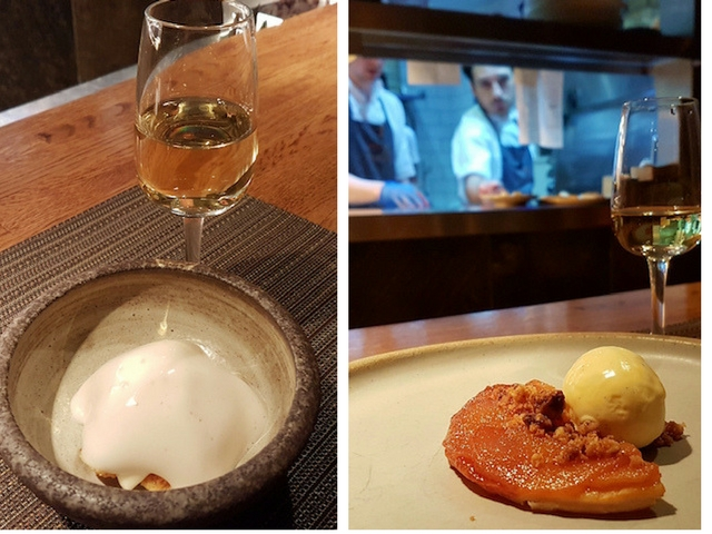 2 pictures showing Pre Dessert of Caramelised Creme Fraiche, Honeycomb, Ginger Beer followed by Pear Tatin, Walnut, Vanilla
