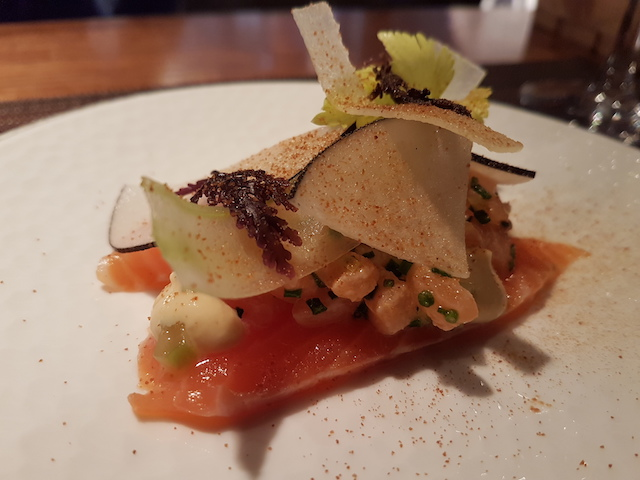 plate with Salmon, Smoked Cod Roe, Celery, Apple and Lemon with Black Radish