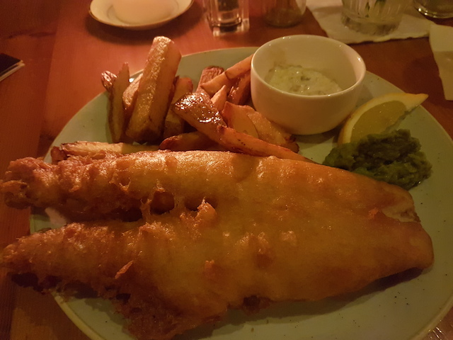 Hamilton's Bar and Kitchen, Scottish Ale Battered Haddock, twice cooked Chips and Mushy Peas