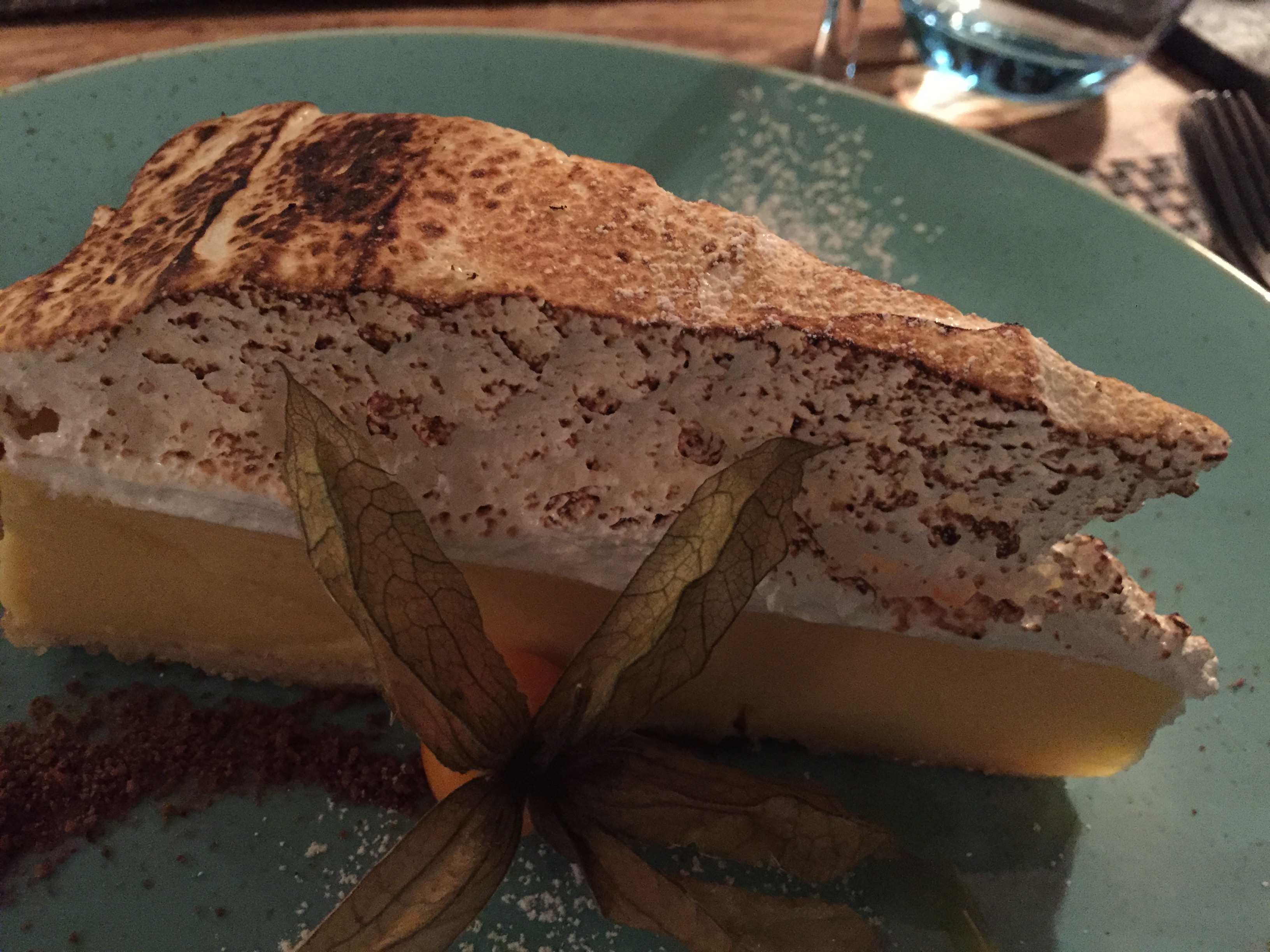 plate showing passion fruit meringue pie