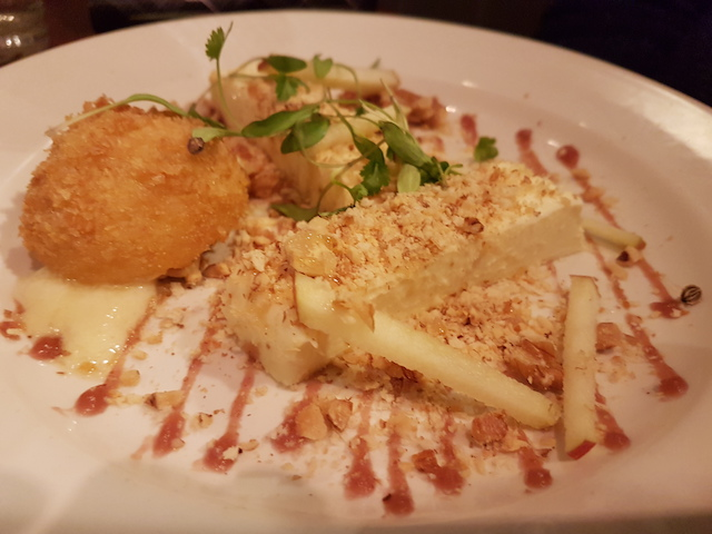 Plate of food at Taisteal Edinburgh Goats Cheese Pannacotta with Apple, Walnuts and Truffled Honey